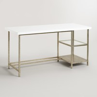 White Lacquer and Burnished Gold Colton Mix & Match Desk