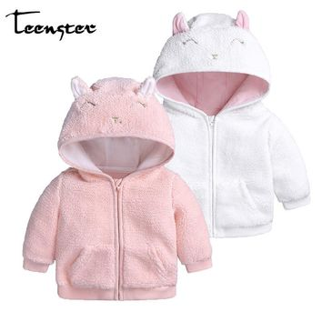 Teenster Baby Snowsuit Baby Boy Girl Clothes Winter Infant Coat Hoodies With Cartoon Letter Cat Ears Newborn Outwear Hooded