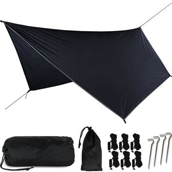 Outdoor Multifunctional Camping Awning Portable Ultralight PU Waterproof Tarp Shelter tent for hammock 3.6*2.8m