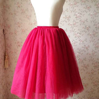 Cherry Red Tulle Skirt /Tea Length Tulle Skirts /Plus size Tulle Skirt-Red Bridesmaid Skirt /Adult Tutu Skirt /Red Wedding Party(T1821)