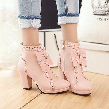 PU Round Toe Side Zipper High Block Heel Bow Ankle Boots