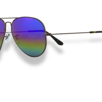 Kalete Ray Ban Aviator Unisex Sunglasses Dark Bronze_Rainbow Mirror 2 3025 9019C2 62mm