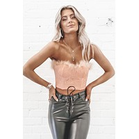 Fluff Me Up Pink Feather Corset Top