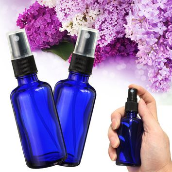 50 ml Cobalt Blue Glass Refilliable Bottle With Fine Mist Spray For Aromatherapy Perfume