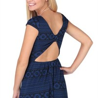 Tribal Jacquard Dress with Cap Sleeves and Open Bow Back - Clearance