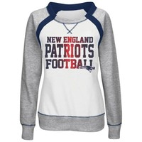 New England Patriots Majestic Women's Counter IV Crew Fleece Sweatshirt - White/Gray
