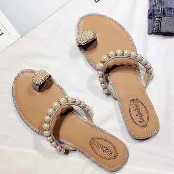 Silver Round Toe Flat Beads Fashion Slippers
