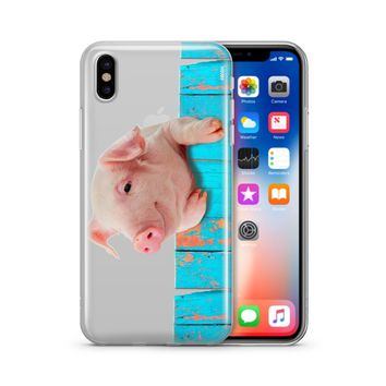 Pig on a Fence - Clear TPU Case Cover Phone Case
