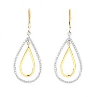 1ct tw Diamond Dangle Earrings in 14K White and Yellow Gold - Diamond Earrings - Jewelry & Gifts
