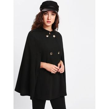 Black Stand Collar Long Sleeve Cape Coat