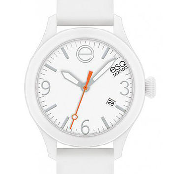ESQ Movado One Unisex Strap Watch - White Dial, Case & Silicone Strap - Date