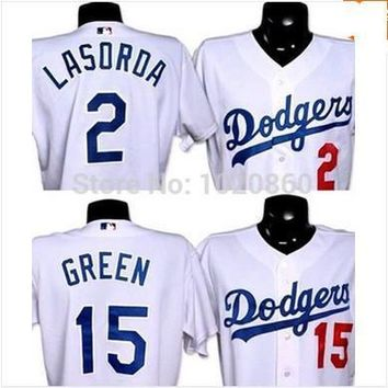 los angeles dodgers Cheap Mens Authentic #15 Shawn Green #2 Tommy Lasorda Baseball jersey for sale stitched size S-3XL