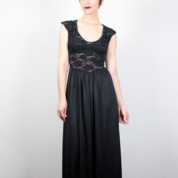 Vintage 80s OLGA Christina Nightgown Sheer Black Lace Lingerie Slip Dress Midi Dress Maxi Dress 1980s Stretch Floral Lace XS S Small M