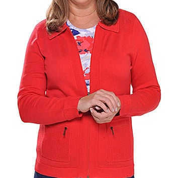 Allison Daley Petite Polo Collar Zip-Front Cardigan - Bright Coral