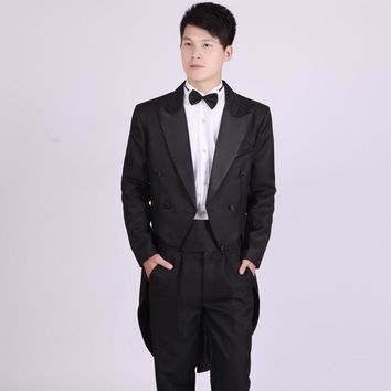 Wedding Prom Suit Gentleman Style Groom Tuxedos Handsome Tailcoat  Made Man Suit for Man Clothes (Jacket+Pants t+Bow tie+Belt)