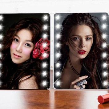 DCCKOV5 Adjustable Tabletop Mirror (16 LEDs Lights and Touch Screen)