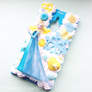 Disney Inspired Elsa Frozen Princess Kawaii Decoden Phone Case for IPhone 4/4s 5, samsung galaxy S2 S3 S4 Note 2 3, HTC One, One X