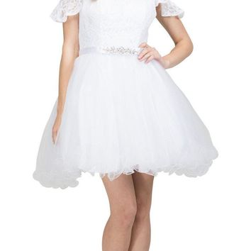 V-Neck Cold-Shoulder Homecoming Short Dress Off White