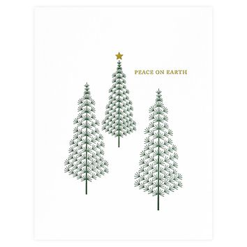 Pine Tree Peace On Earth Holiday Card Boxed