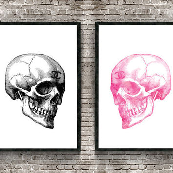 Set of 2 prints, Chanel skull, 24x36 digital download. Hot pink, black, skull, Chanel, Chanel no 5, Coco chanel, Chanel poster, skull art