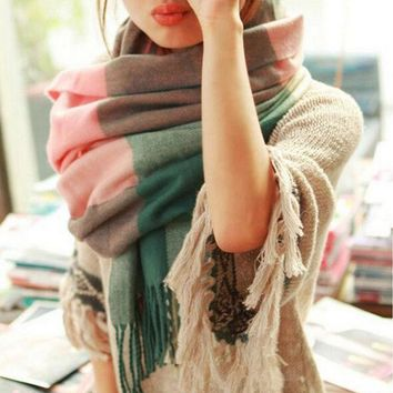 PEAP9GW 2016 Fashion Wool Winter Scarf Women Spain Desigual Scarf Plaid Thick Brand Shawls and Scarves for Women