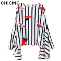 CHICING Women Fashion Striped Flamingo Printed O Neck Blouse 2017 New Flare Sleeves Loose Style Pullovers Tops femme A1704001
