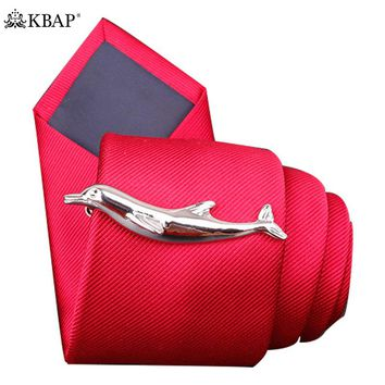Tie Bar Clip Dolphin Shape Tie Tack Pin Tie Clip for Mens Necktie Business Wedding Gift Box