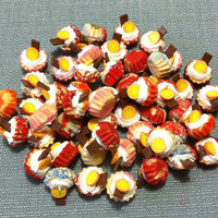 10 Miniature Cupcakes Clay Polymer Chocolate Orange Fruits Bakery Pastry Cute Little Tiny Small Dollhouse Cakes Supply Food Jewelry Beads