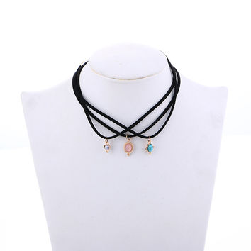 Gothic Velvet 3 Colors layers All-match Turquoise Chokers Necklaces Alloy Cute Pendants Necklaces  Sets Necklace
