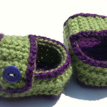 purple and green baby sandals- crochet shoes- newborn
