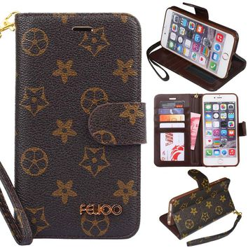 iPhone 8 Plus Phone Case,iPhone 7 Plus Phone Case,GX-LV Luxury Plaid Pattern Leather Wallet Flip Folio Case Cover with Kickstand,Card Holder Slot for iPhone 8 Plus/iPhone 7 Plus (Flowers)