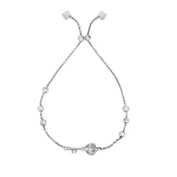 Silver Rhodium Finish Key Element on Bead +Cable Link Bracelet with Draw String Clasp+CZ