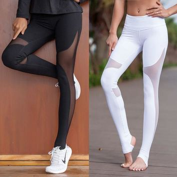 DCCKN6V Fitness yoga net yarn splicing trample feet women cultivate one's morality show thin air movement render pants