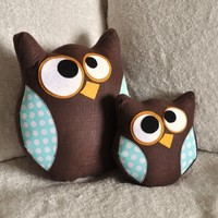 Owl Plush Pillow Hooter and Lil Hoot Owl Set in Aqua by bedbuggs
