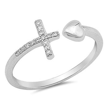.925 Sterling Silver Heart and Sideways Christian Cross CZ Wrap Ring Ladies and Kids Size 4-10 Midi