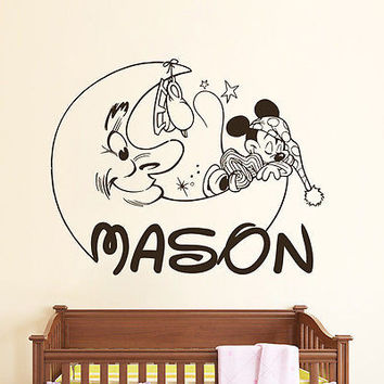 Personalized Mickey Mouse Decals Boy Name Wall Decal Nursery Room Decor DS405