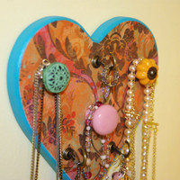 Jewelry Hanger- Shabby Chic 3 Knobs 3 Hooks, Heart Shaped Colorful Orange, Teal and Pink