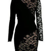 Black Drape And Lace Detail Bodycon Dress - Clothing - desireclothing.co.uk