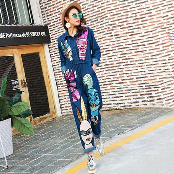 LMF78W 2016 Autumn Brand Personality Denim Jeans Siamese Jumpsuit Women Cartoon Sequined Jumpsuit Long Sleeve Rompers 1685