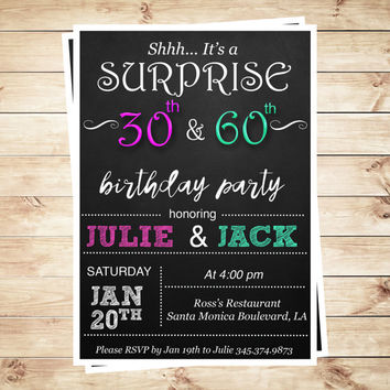 Joint Birthday Party Invitations For Adults Invite Combined