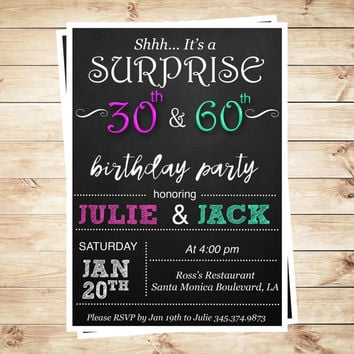 Joint birthday party invitations for adults, Joint Birthday Party Invite for adults, combined birthday party invitation printable for adults