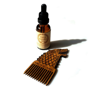 Holy Beard Oil + Wooden Beard Comb Wolf Stark Game of Thrones Gift Set for Bearded Men Beard Care Beard Grooming Set Gift for Him