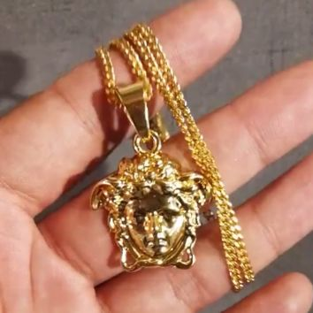 Versace small solid high quality long faded necklace pendant F0583-1
