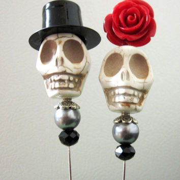 Sugar Skull Cake Topper Gothic Wedding Day of the Dead Caketopper Bride & Groom - Rockabilly Sweeties