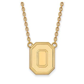 NCAA 10k Yellow Gold Ohio State Large Pendant Necklace