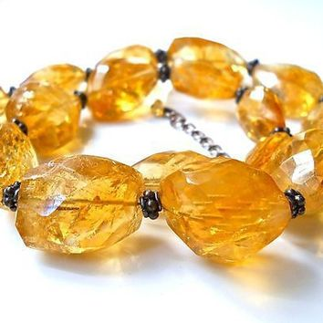 Free Form Citrine Sterling Silver Necklace, Natural Graduated Strand, Vintage