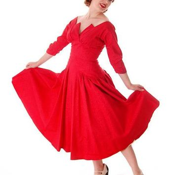 Vintage Party Dress Red Faille Super Fitted Waist Full Skirt 1940s Small