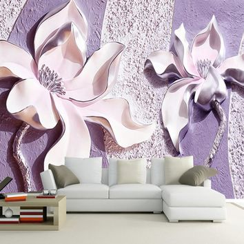 Large Murals Purple Flower Wallpaper Murals for Sofa TV Background 3d wall photo murals 3D Flower Wall paper decor