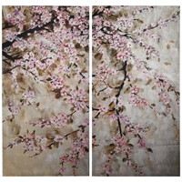 A&B Home Group, Inc 2 Piece Cherry Blossom Painting Print on Canvas Set