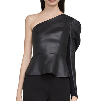 Lilyan Faux-Leather Peplum Top